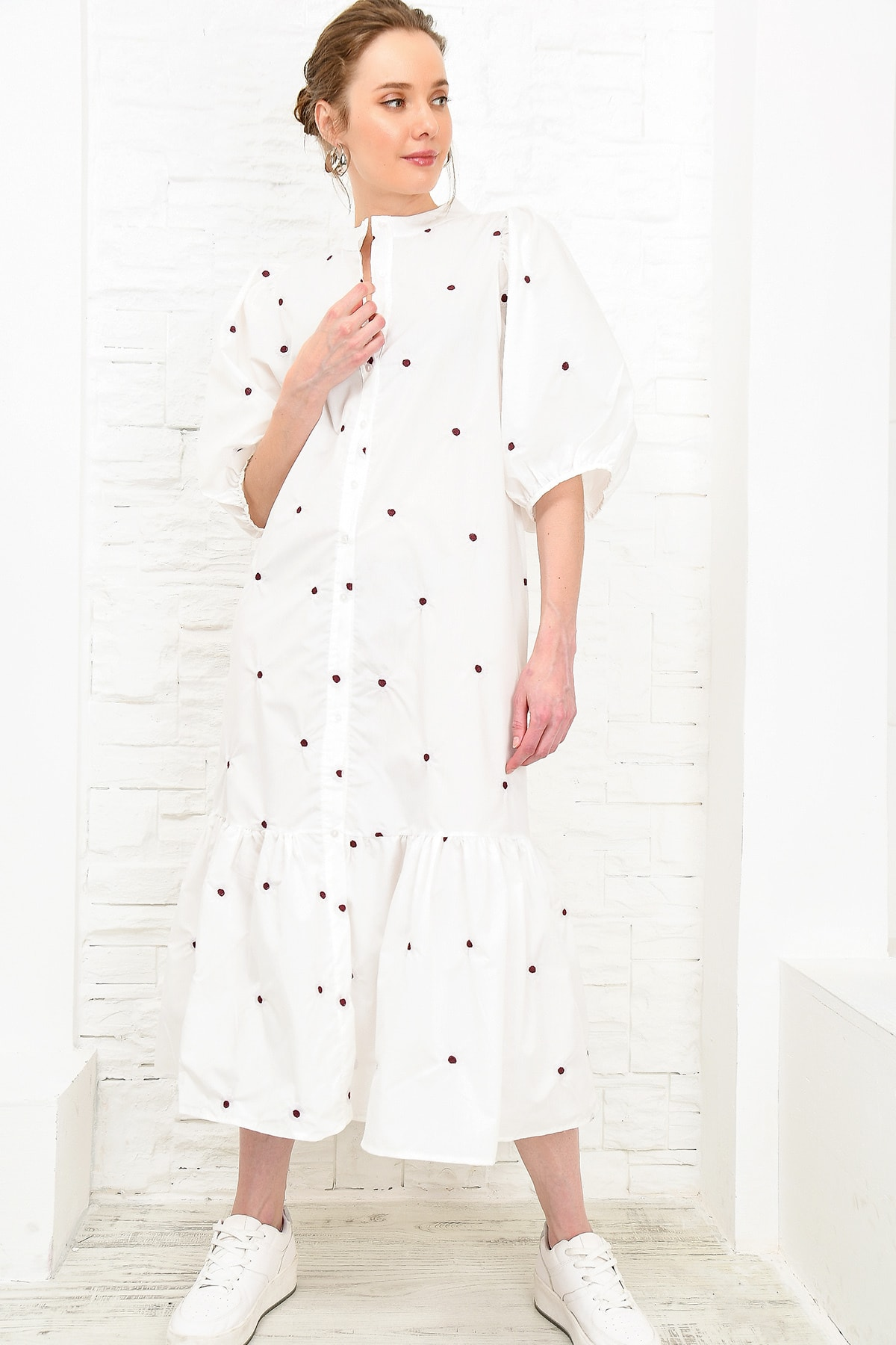 Tendencia Alacati estilo bordado Poplın vestido de camisa ALC-X4093