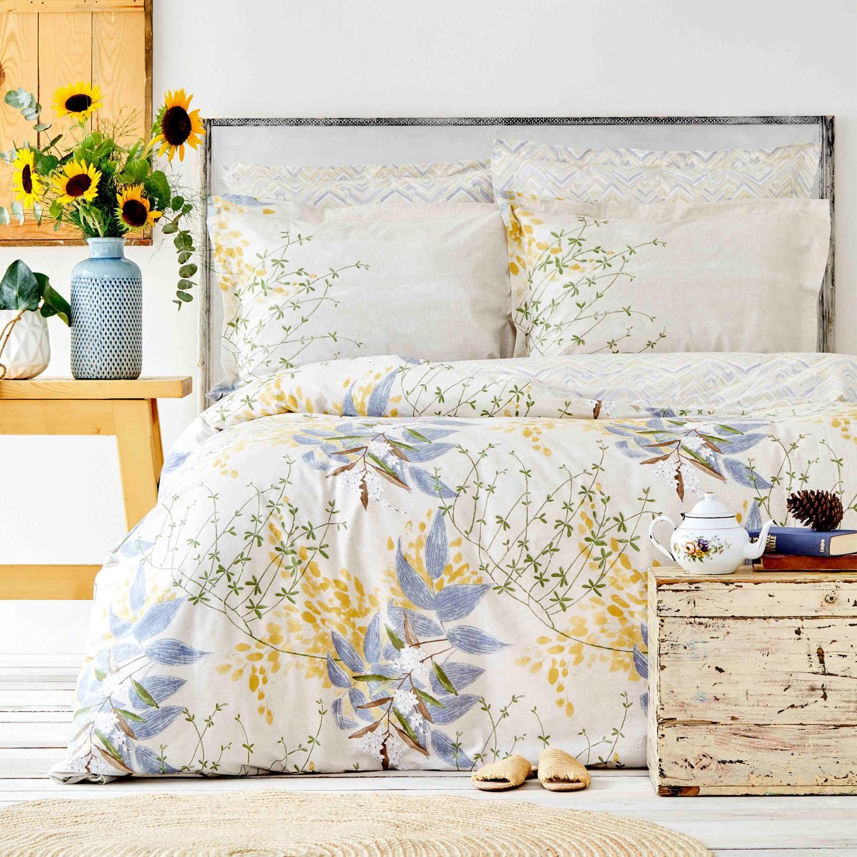 Karaca Home Clarinda Mustard Double Rubber Linen Duvet Cover Set enlarge