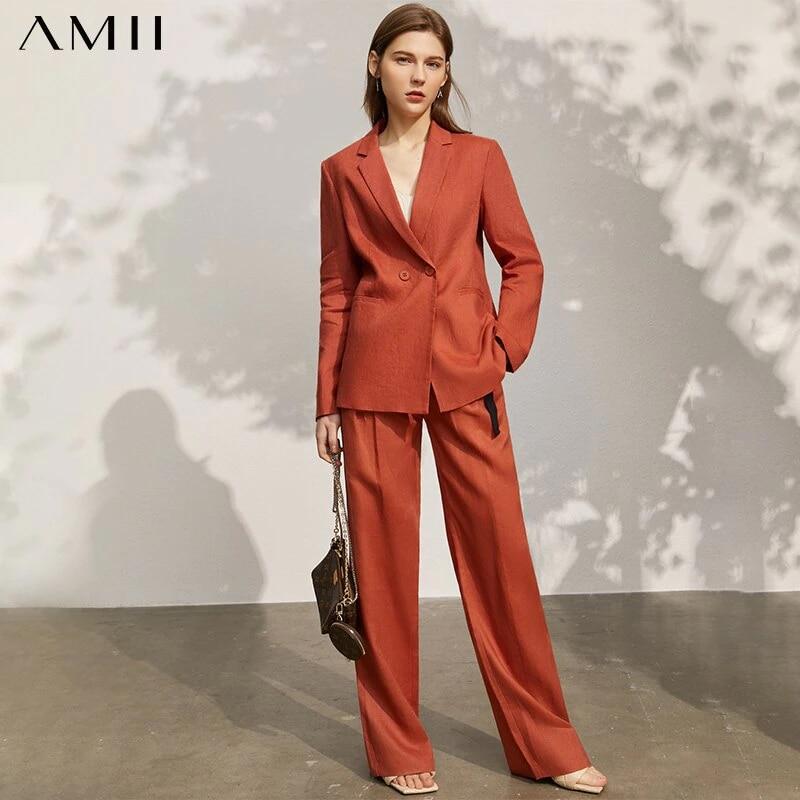 Amii Minimalism Spring New Blazer Women Offical Lady Solid Lapel Suit Coat Women High Waist Loose Female Pants  12140159