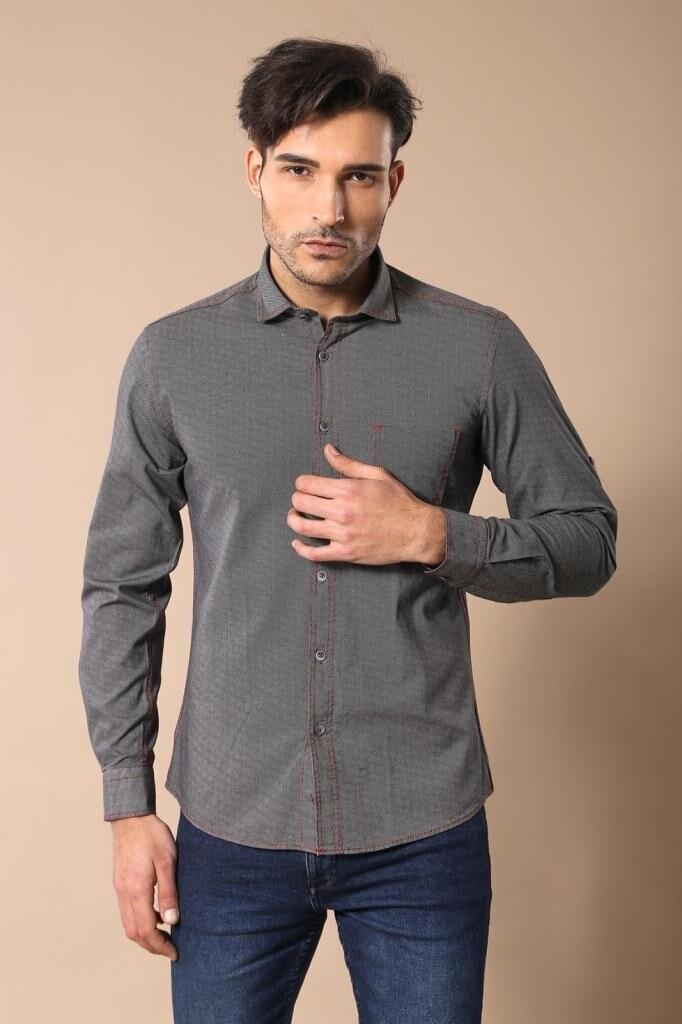 Camisa de hombre gris estampada Unimart Shop   Wessi