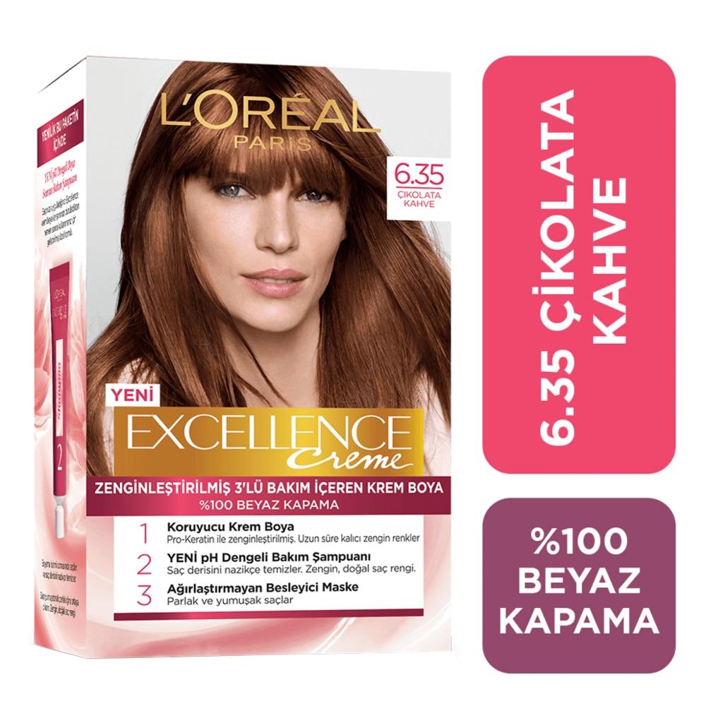 Loreoreal paris excelência creme chocolate marrom tintura de cabelo 6.35