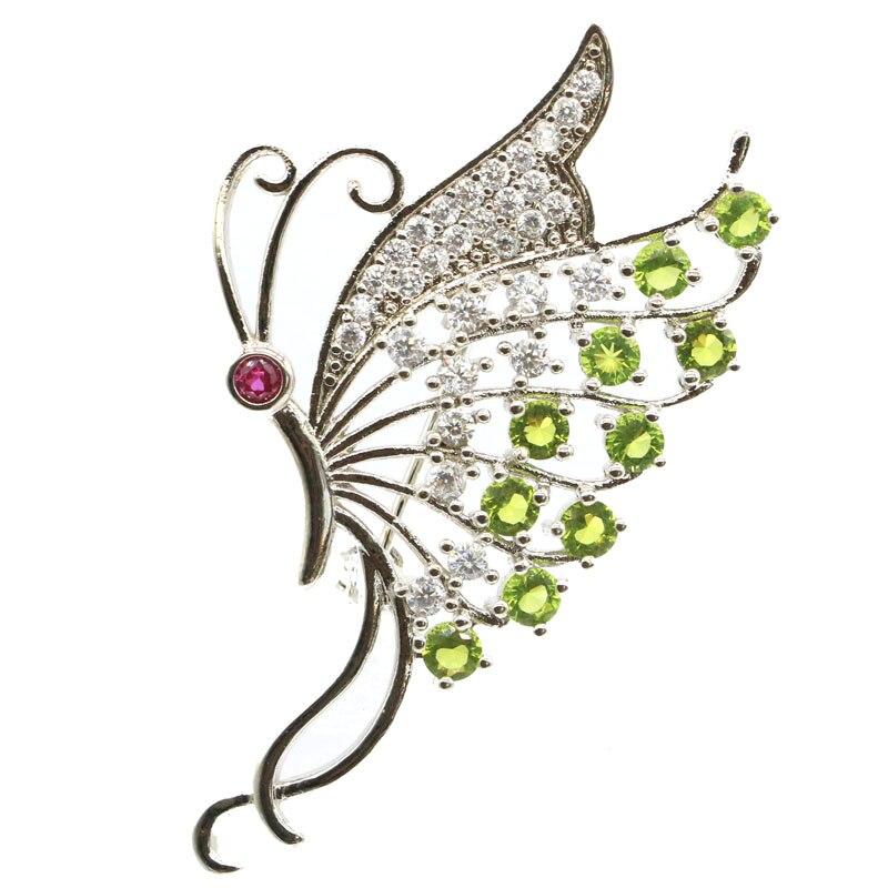 48x29mm nova forma de borboleta projetado criado verde peridot turmalina branco cz shecrown presente broche de prata 61x26mm
