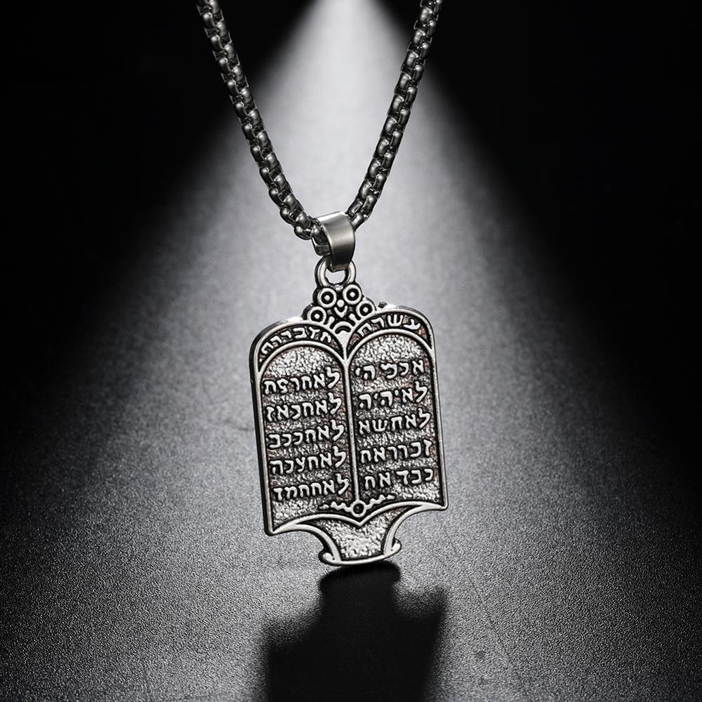 Likgreat vintage chapeado judeu torah rolagem 10 mandamentos hebraico prata cor pingente colares charme étnico jóias presente