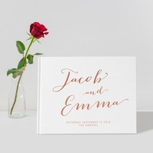 rose gold Wedding Guest Book Custom elegant horizontal Guestbook Alternative ideas book guest sign in book birthday photo album