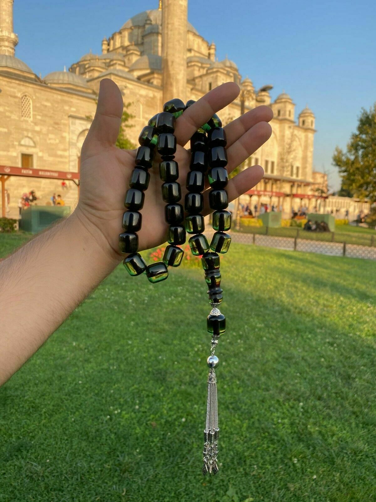 Ottoman Faturan German Amber Sandalous Misbaha Prayer Beads Islamic Gift Tasbih Tasbeeh Tasbeh Rosary Tasbih # 19F