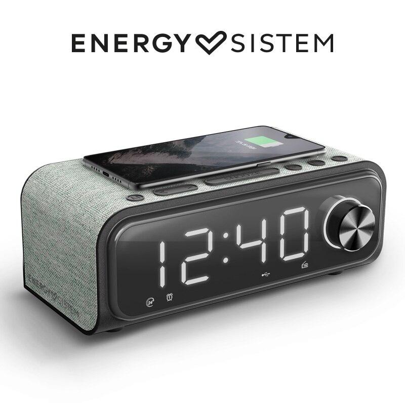Energy Sistem Clock Speaker 4 Wireless Charge (Radio Despertador,Dual Alarm,10 W, Carga inalámbrica, Bluetooth, USB/microSD MP3)