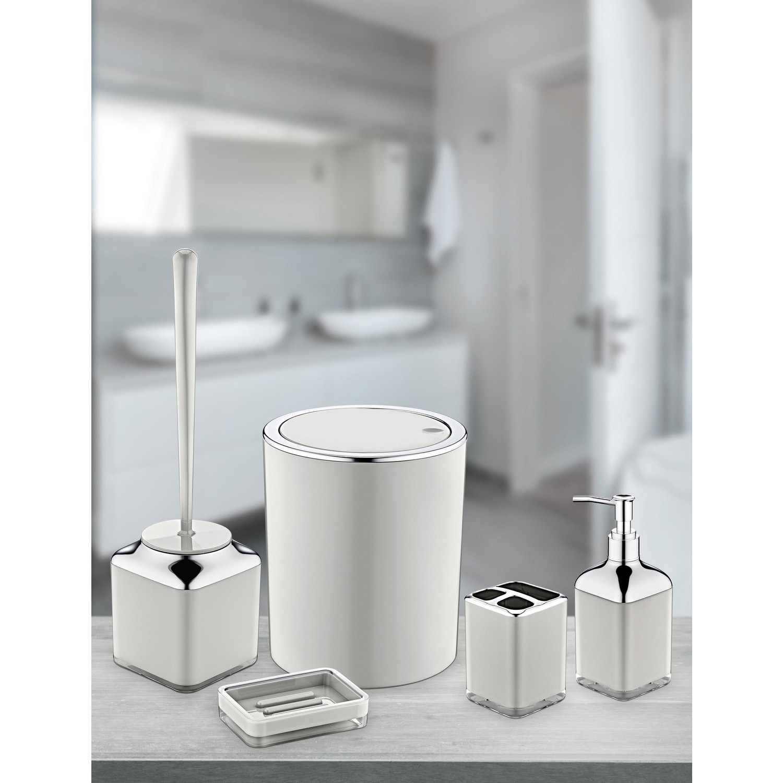 OceanLand Double Printed Round Chrome 5 Piece Bathroom Set Hard Plastic Toothbrush Holder Soap Dispenser Toilet Brush Dustbin enlarge