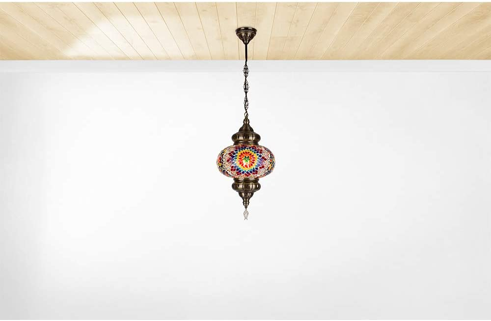 Turkish Moroccan Crystal Glass Stained Ceiling Hanging Light Lamp Lantern Boho Pendant Chandelier for Bedroom Decor - 10 inch (D enlarge