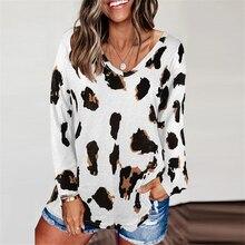 Leopard scollo a V donna t shirt manica lunga Top allentato donna Casual Soft Top Tee shirt donna harajuku mujer camisetas