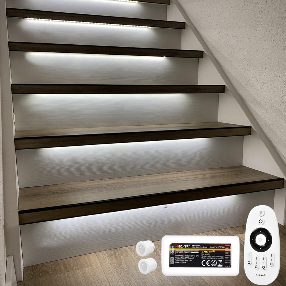 16 Steps 1.3M LED Strip lighting for stair with Motion Sensor and Milight wireless dimmer-Plug and Play