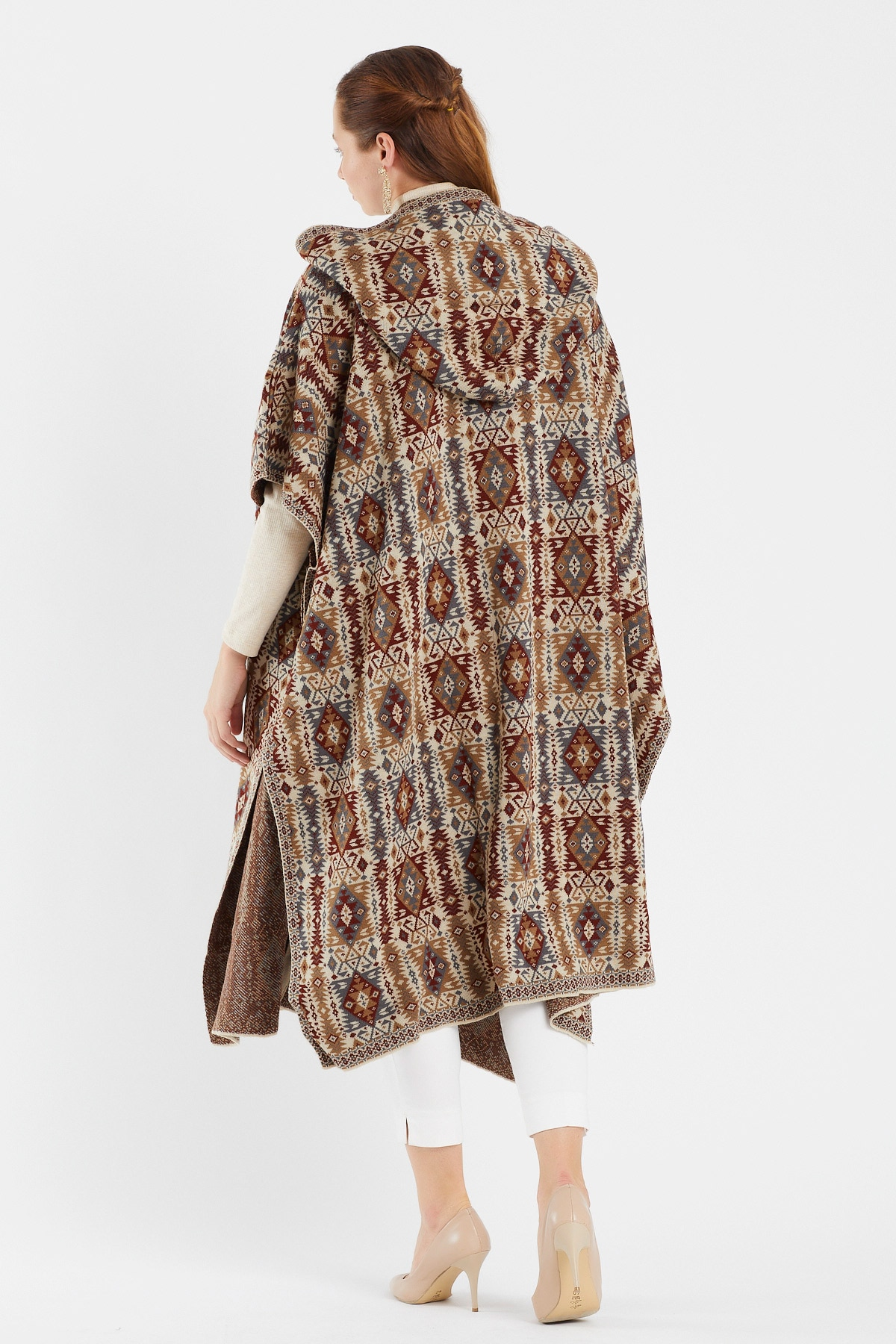 Women's S dress top hawl Wrap Knitted capes and Poncho – Oversized hoodie Cardigan  Open Front Tassel Cape for Winter enlarge