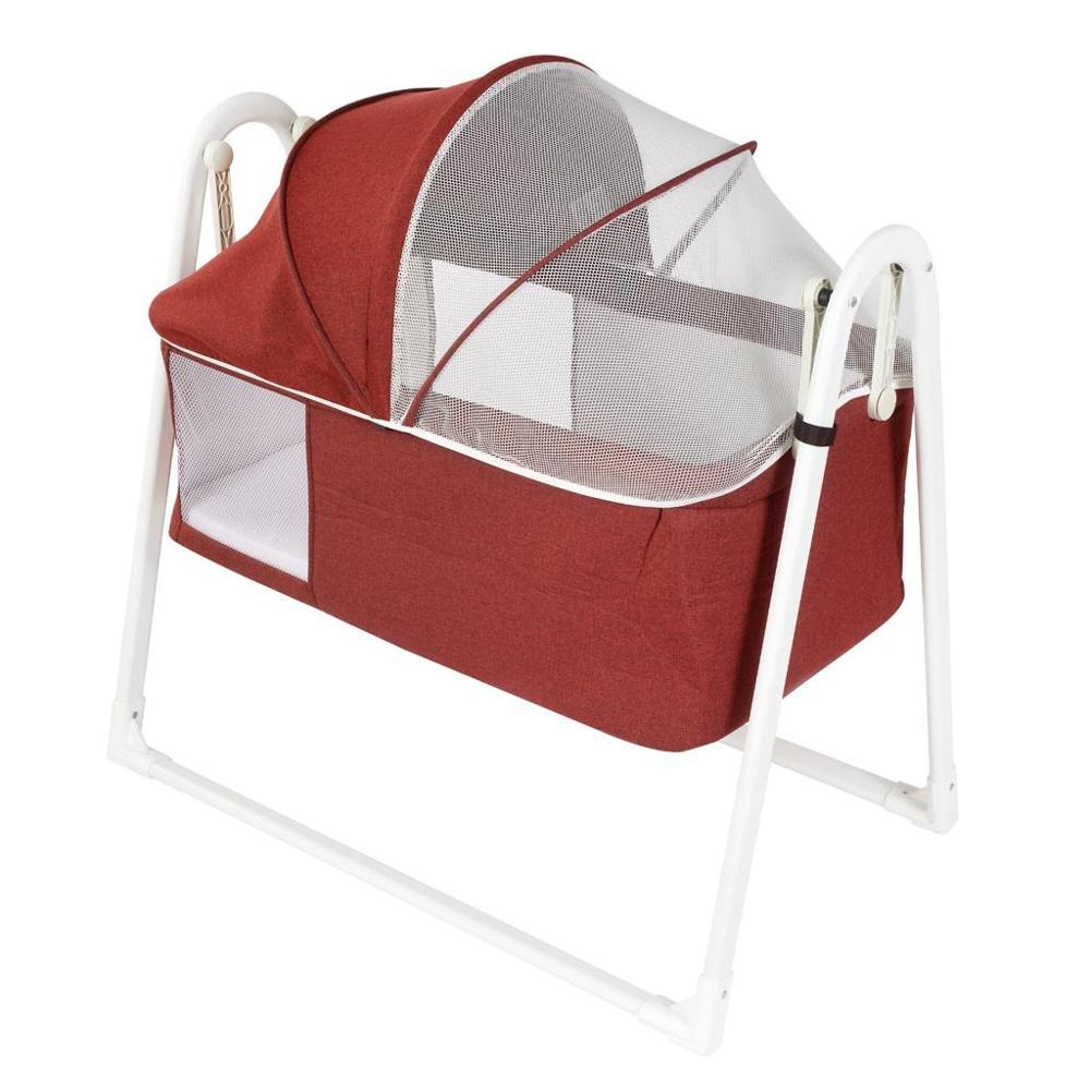 Jaju Baby-مهد كلاريت أحمر بالإضافة إلى مهد هزاز محمول ، مهد قابل للطي باللون الرمادي الفاتح ، مهد جانبي للأم ، سهل التركيب