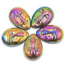 22x15mm Special Aura Angle Quartz Amethyst Aura Rainbow Titanium Quartz White Goddess Face Cabochon Cab (5 Piece) Gift