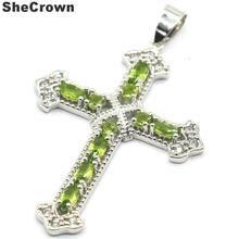 57x35mm Classic Long Cross Created Green Peridot White CZ Woman's Silver Pendant57x35mm