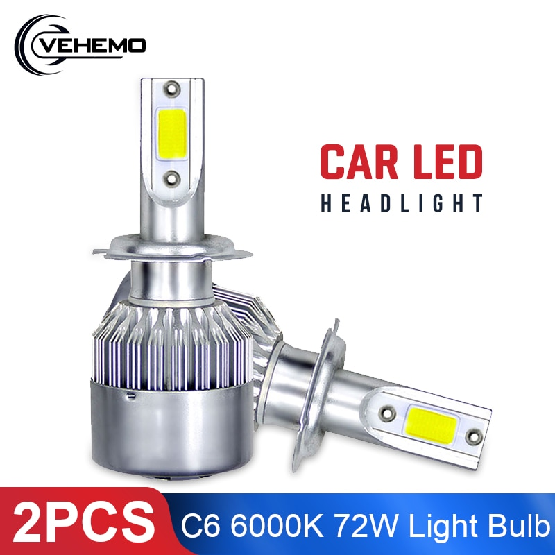 2 uds c6 H3 del coche LED faro H7 llevó la luz del coche H11 H4 H1 H8 HB1 HB3 HB4 9006 HB5 H10 H27 coche LED luz 6000K 72W de Canbus bombillas
