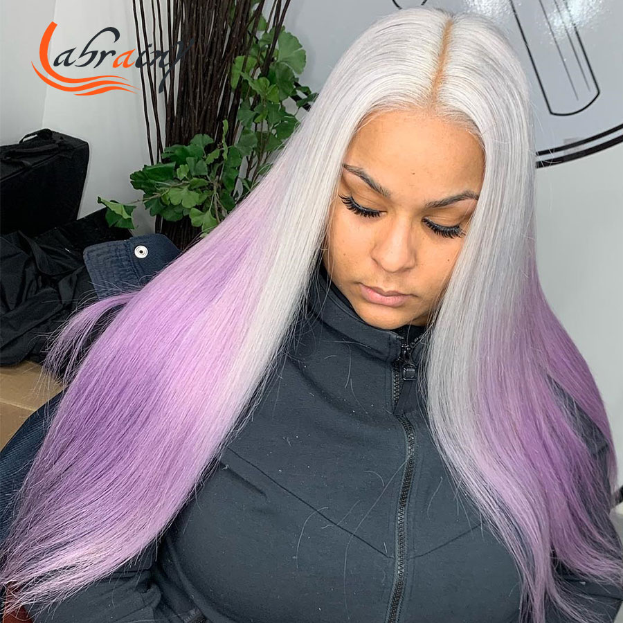 Выделите 613 эффектом деграде (переход от темного к Фиолетовый 40 дюймов Hd прозрачный 13x6 Кружева передние парики из натуральных волос с Африка...