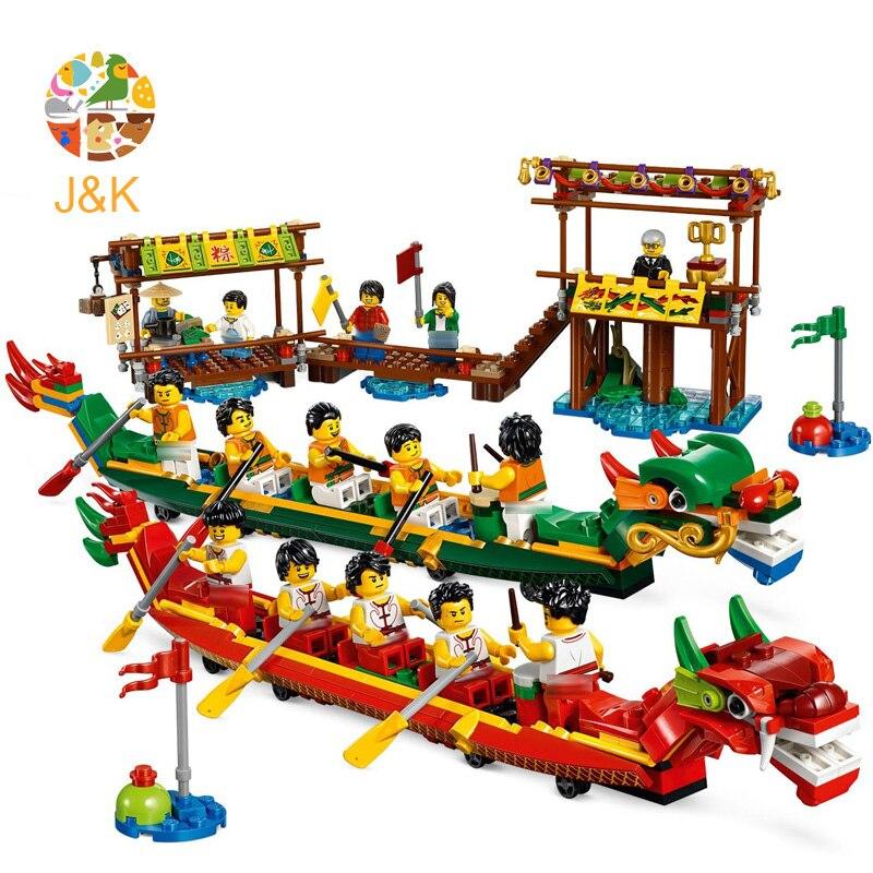 80103 660 pçs série idéia os festivais chineses dragão barco modelo de corrida bloco construção tijolo brinquedos para crianças 11141 presente