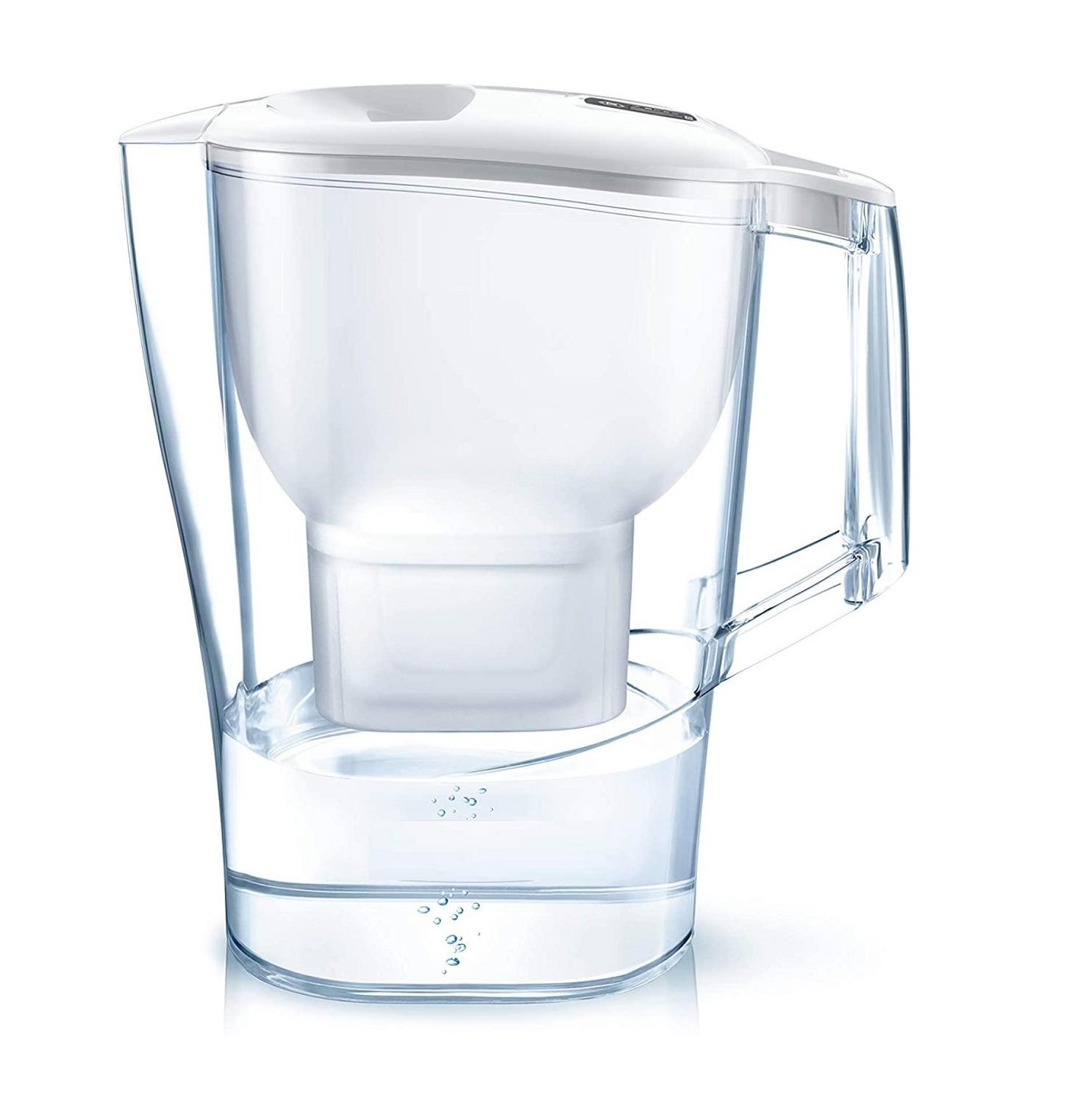 Filtered water jug with 1 cartridge water filter reduces lime and chlorine, filtered water for optimal flavor, 3.5L