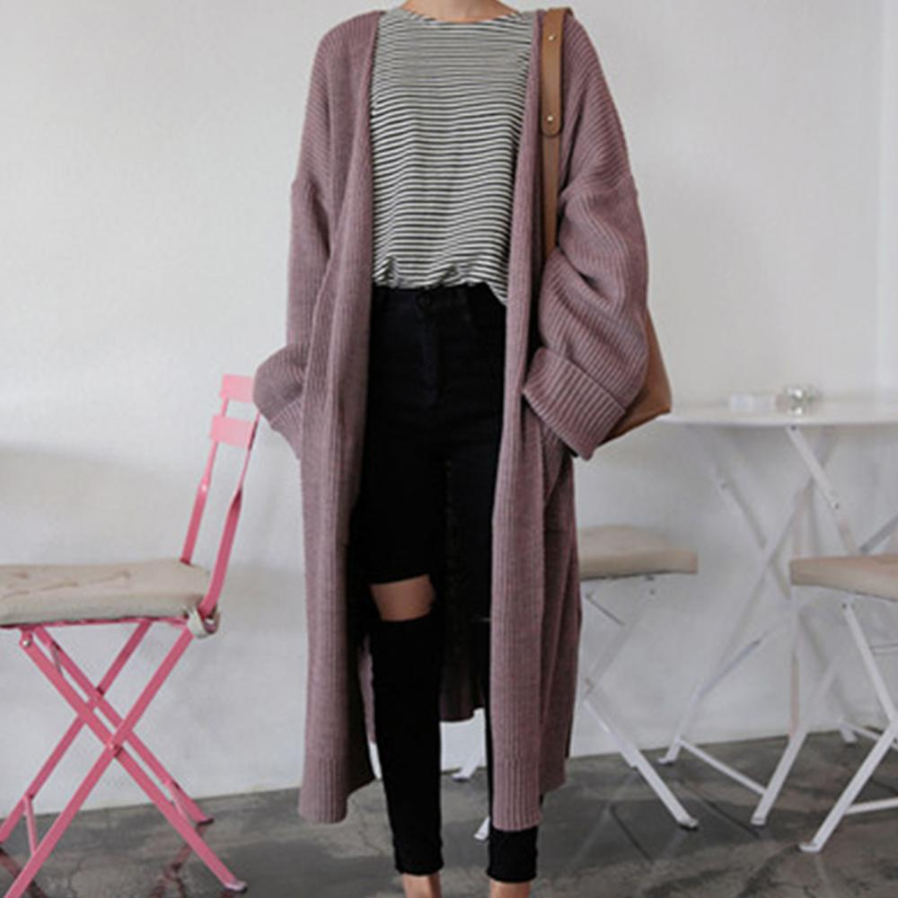 Mujer de manga larga Color sólido tejido 2019 Otoño Invierno mujer ocio suelto Chic suéter abrigo