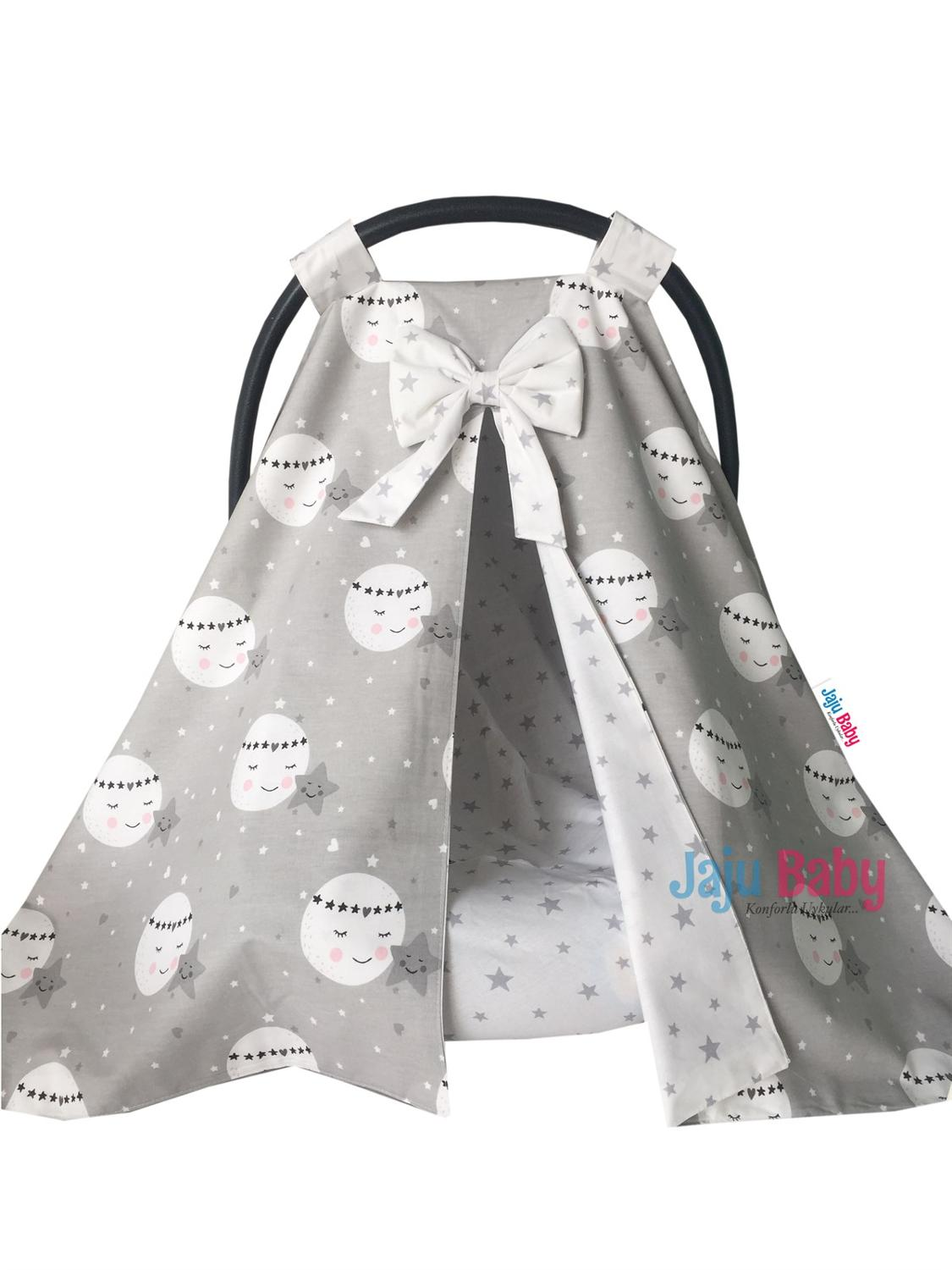 Jaju Baby Gray Smiling Moon Pattern Stroller Cover and Inner Linen