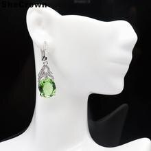 41x12mm Pretty Created Green Tsavorite Garnet Dark London Blue Topaz CZ Wedding Ladies Silver Earrings