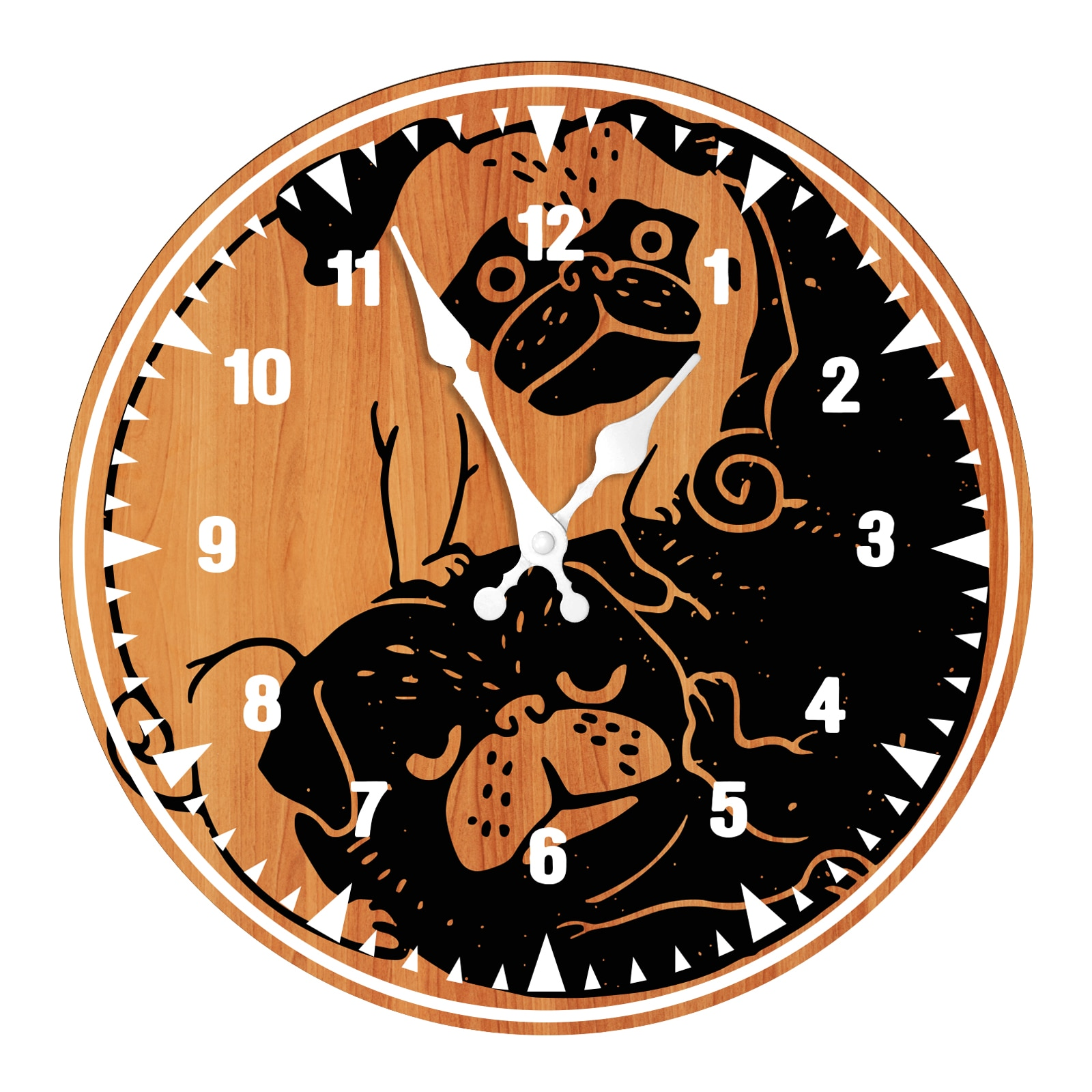 Retro Cartoon Dog Wooden Wall Clock Modern Design Decorative for Living Room Silent Non-Ticking Quartz Round Wood Wall Clock eiffel tower round wood analog wall clock