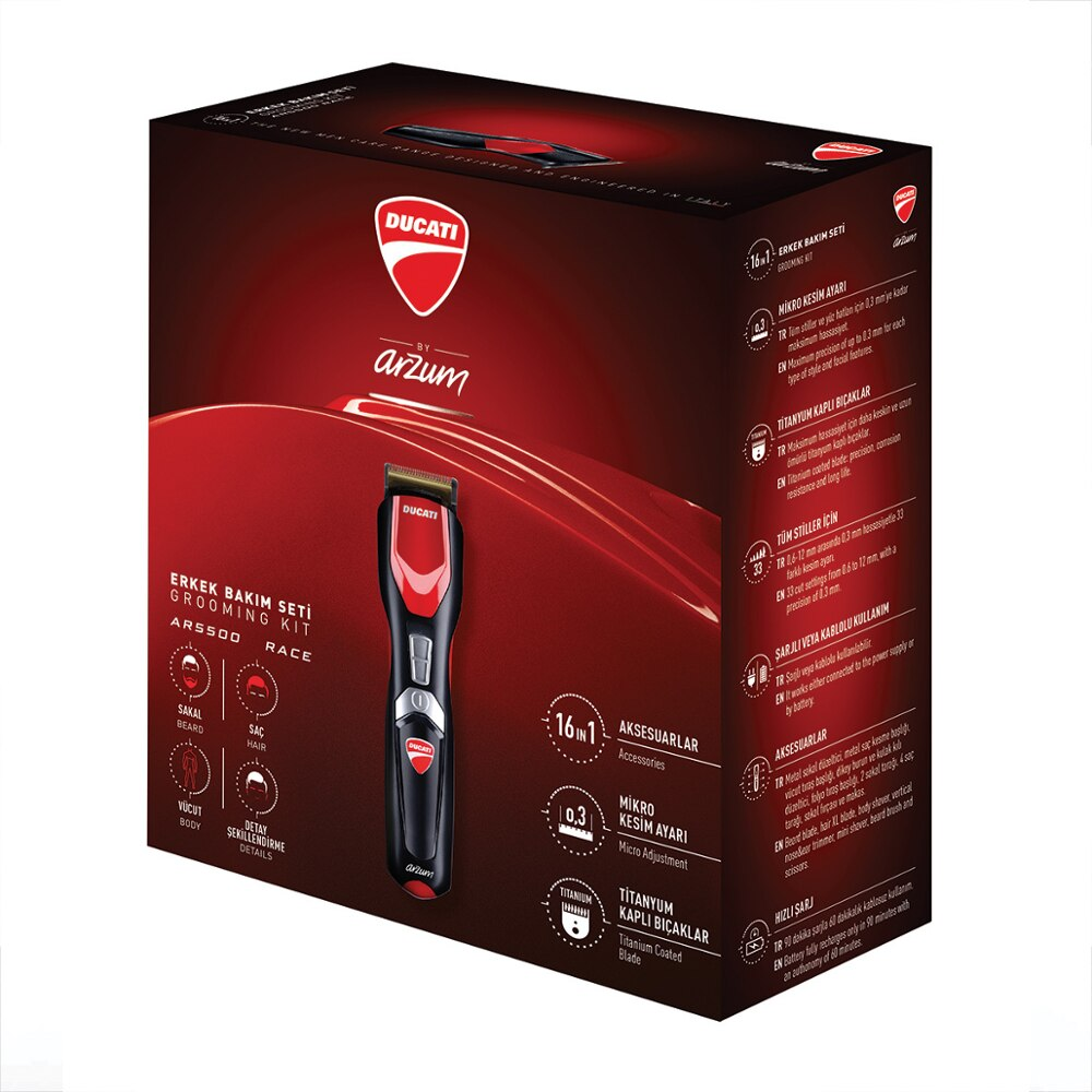Ducati by Arzum AR5500 Gearbox 16 in 1, Hair trimmer, Hair clipper, Eu plug, abs, – Run time Cordless 60mn Made İn TURKEY enlarge