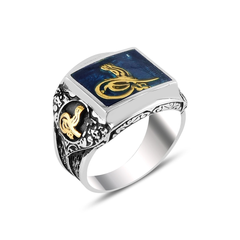 Juego de anillos de plata 925 con cabujones azules