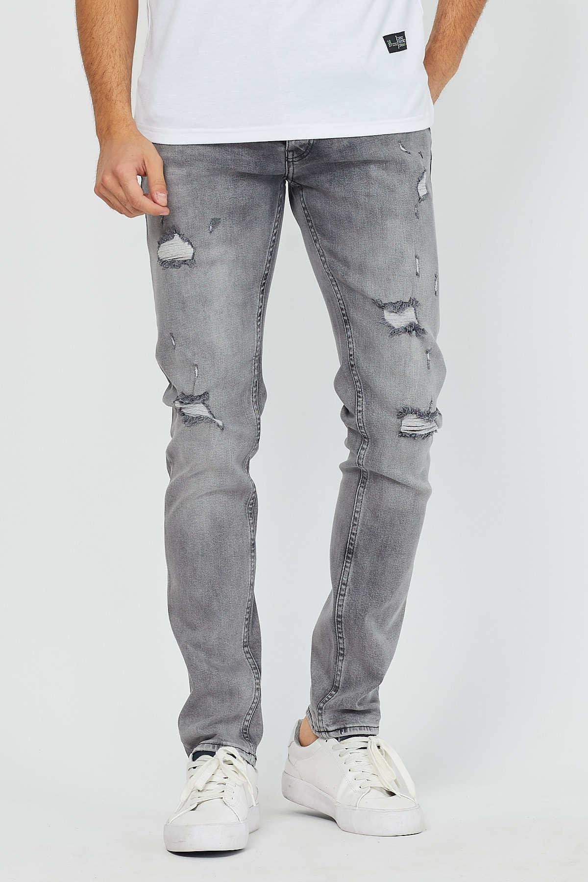 Denim republic cinza rasgado jeans dos homens buraco denim calças casuais verão outono masculino magro