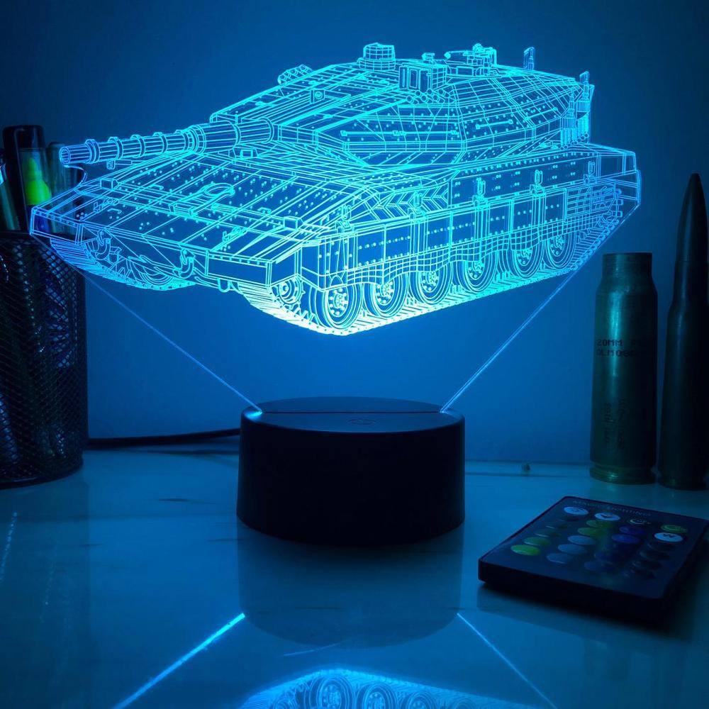 Merkava Mk 4 Kampfpanzer 3D Nacht Licht LED Lampe Schlafzimmer Dekoration Kreative LED Lampara