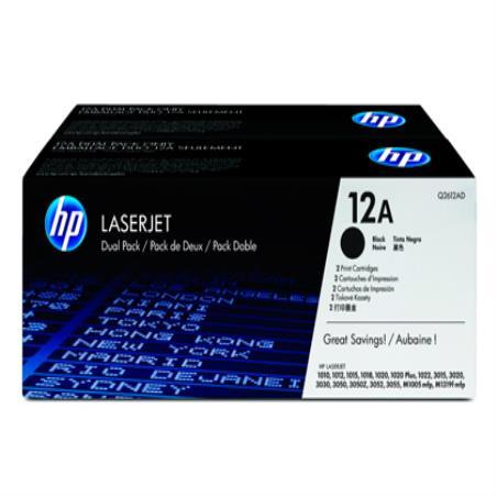 Toner hp laserjet 1010 1012 1015 1018 1020 1022 3015 3020 3030 3050 3052 12a preto pacote 53223-Q2612AD 2 3055 pag