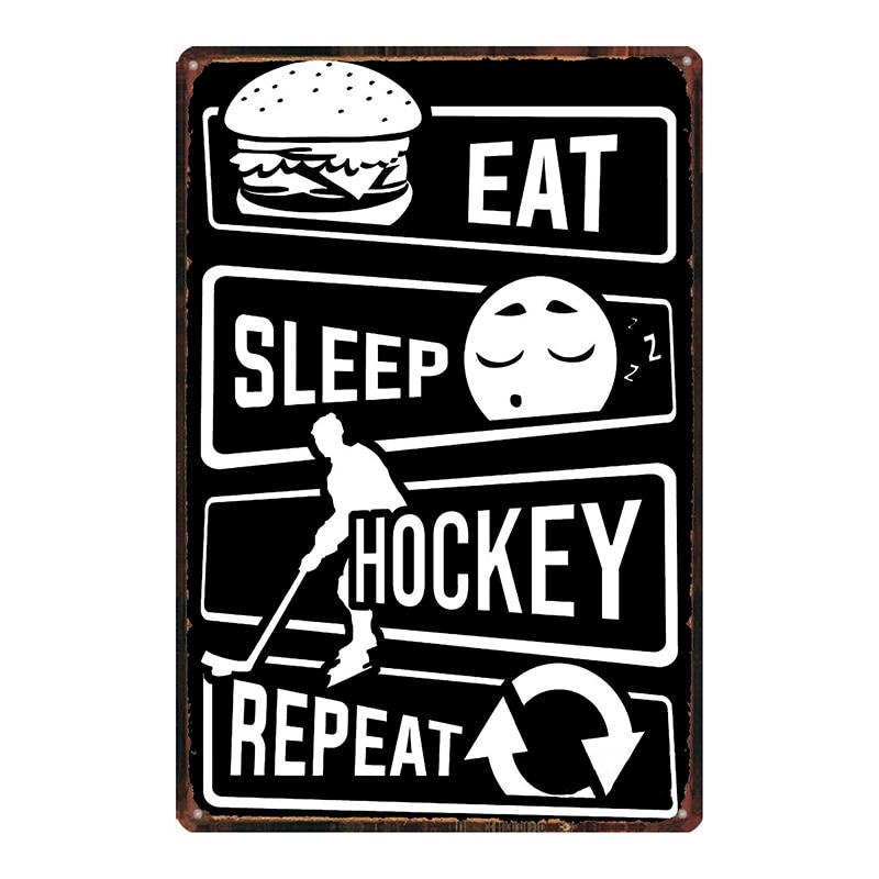 Hockey is Life Sports Metal Tin signs Fitness Plaque  Metal Vintage  Wall Bar Home Art Retro Craft Gym  Decor 30X20CM DU-6987A