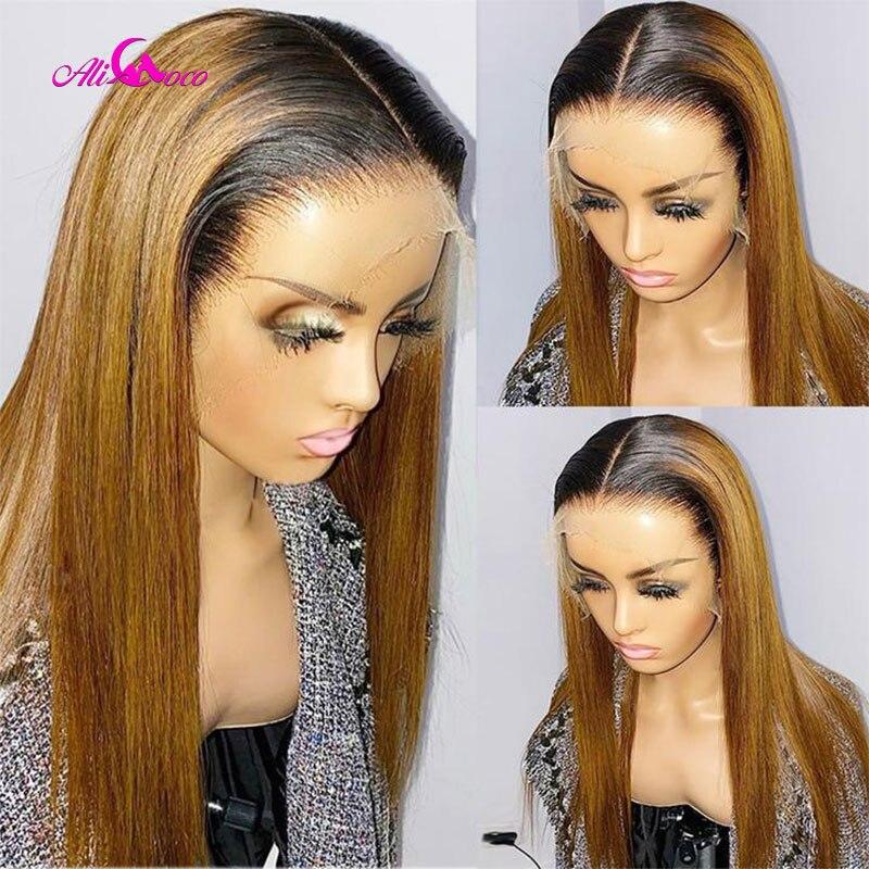 ali coco frente reta do laco perucas de cabelo humano 13x4 1b 27 mel cor loira perucas