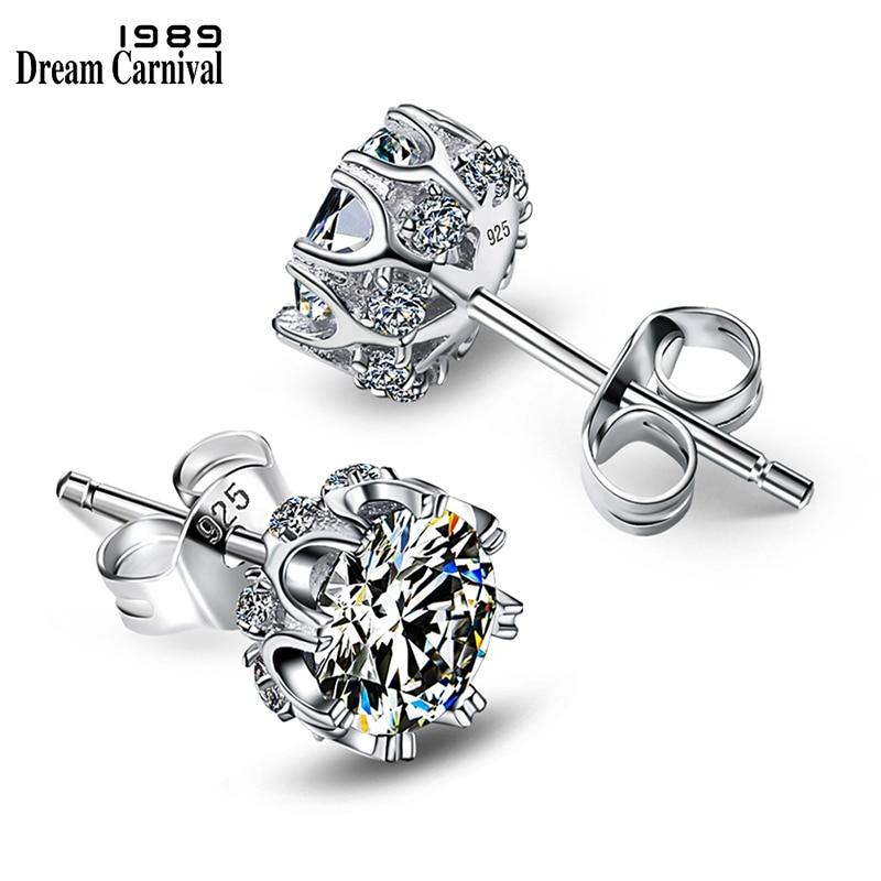 DreamCarnival 1989 Popular Style Sterling Silver 925 High Quality Zircon Stone White Luxury Daily Wear Silver Earrings SE10817R