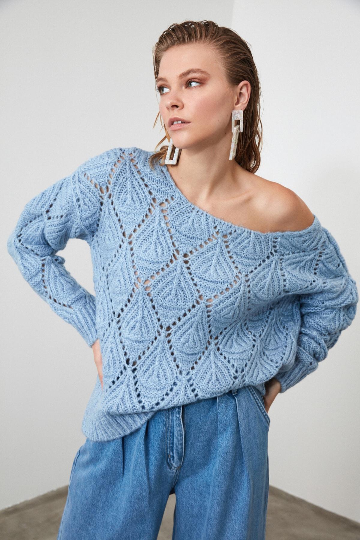 Trendyol Mujer-lila patrón tejido suéter TWOAW20XS0016