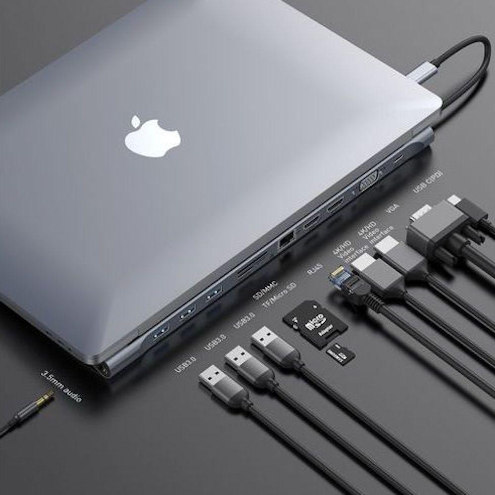 ХАБ Baseus Enjoyment Series Type-CNotebook HUB Adapter (PD/HD4K*2/VGA/RJ45/SD/TF/USB*3/Adapter)Da rk gray
