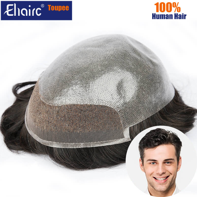 Bio-PU Base Men Toupee V-Loop Invisible Man Replacement System Unit Male Hair Prosthesis 100% Natural Human Hair Wig For Men