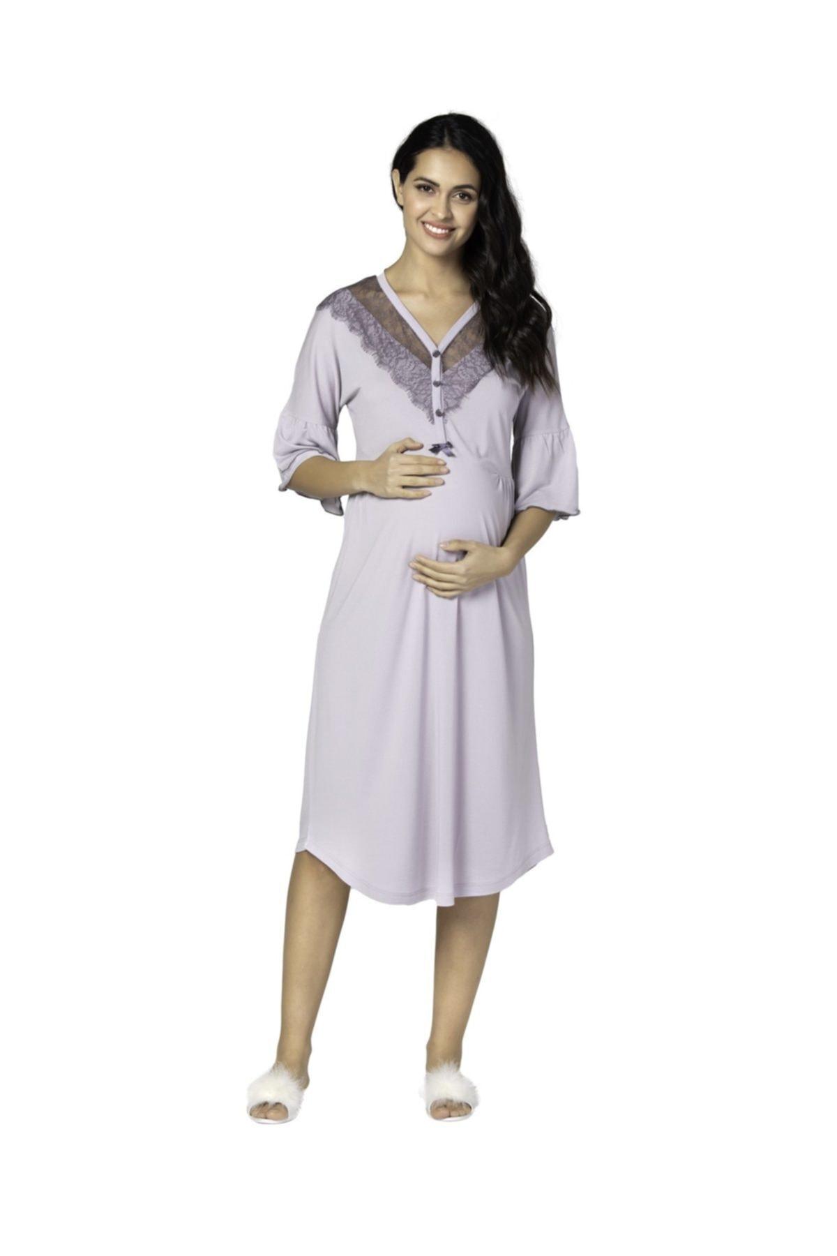 Bondy Aylin Maternity 2-Pieces Nightgown Set Lilac  Powder enlarge