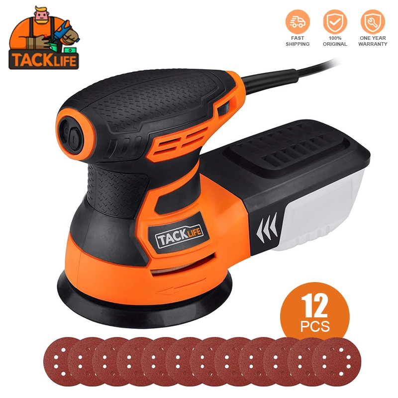 TACKLIFE 5-Inch Random Orbit Sander 300W With 12Pcs Sandpapers, 6 Variable Speed 6000-13000RPM Electric Sander-PRS01A