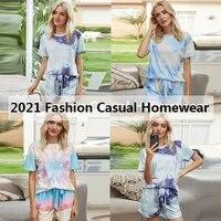 fashion casual short sleeve homewear women 2 pcs tie dye print loose comfy elastic pocket shorts sleep pajamas loungewear sets