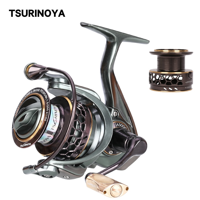 TSURINOYA Fishing Reel JAGUAR 3000 Double Spools Spinning Reel High Speed Ratio  9+1BB Hot Sell Bass Reel Extra Spare Spool tsurinoya flying shark 6 2 1 high speed fishing reel 4000 5000 spinning reel 11 1bb 12kg drag aluminum spool carp fishing tackle