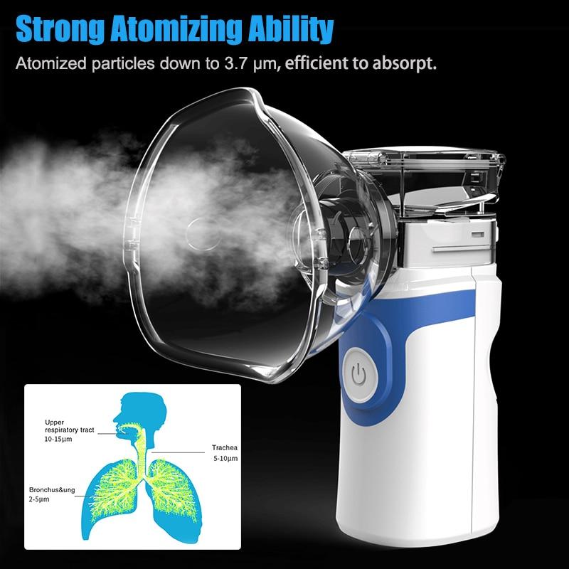 Recarregável Nebulizador Inalador Portátil Malha Silencioso Ultrasonic Atomizador Para Adultos Crianças Bebê Inalador Atomizador Umidificador respirador artificial