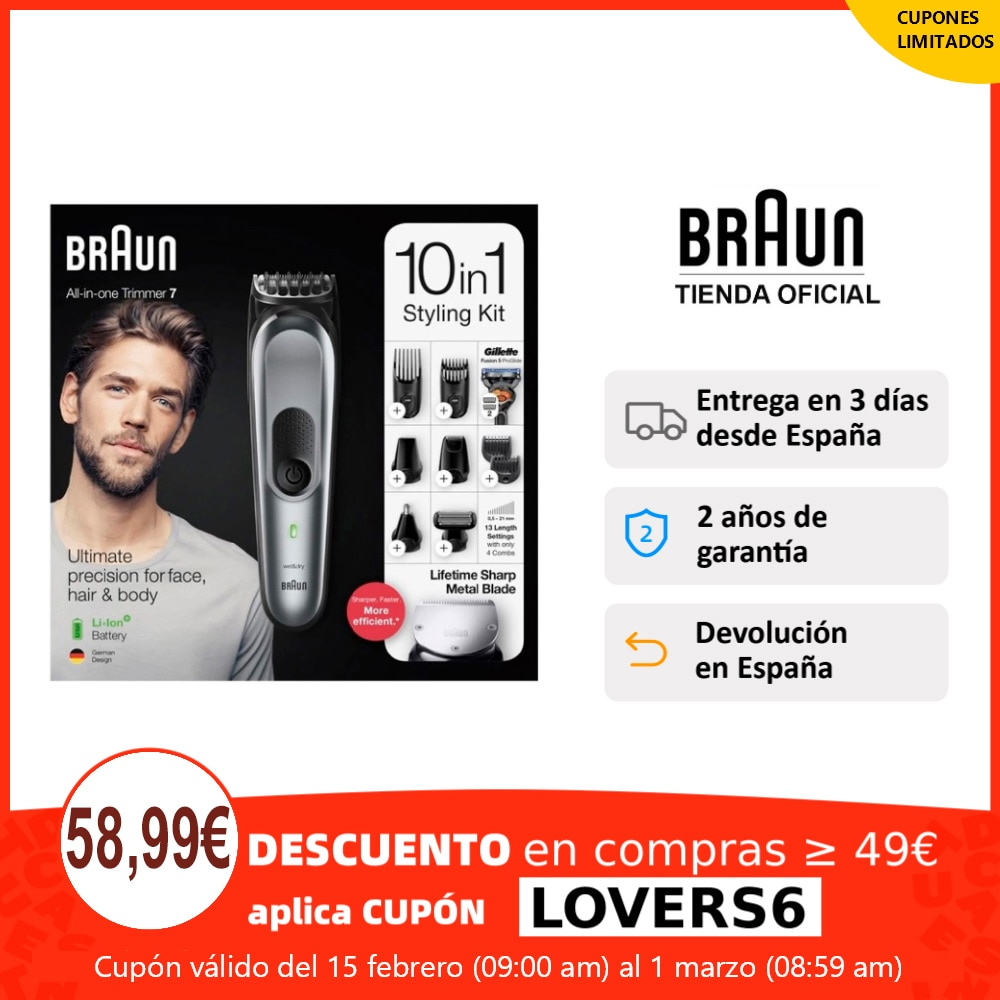 Braun all in one MGK 7221 beard trimmer and hair trimmer-Set 10 in 1, Gilletfe Fusión5 ProGlide, 4 Combs
