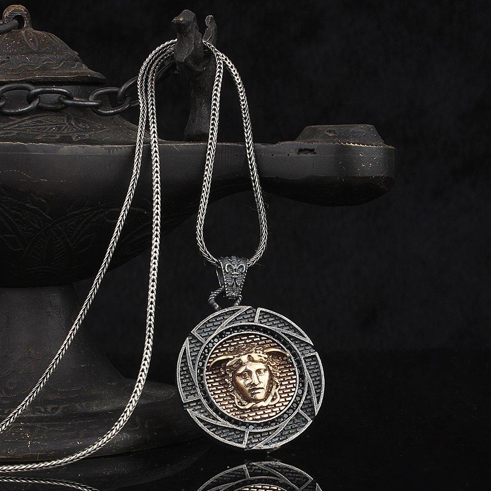 925 فضة ميدوسا أيقونة الرجال قلادة فضية ، مجوهرات خمر الموضة