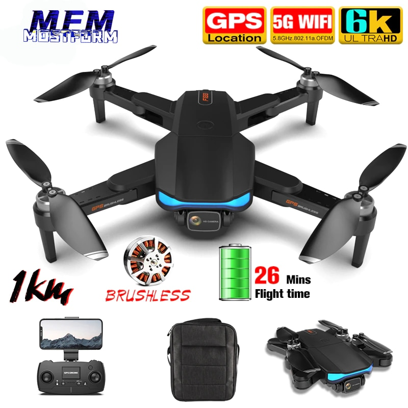 Newest F188 1KM Long Distance Camera Drone 6K GPS Professional 5G WiFi FPV Brushless Professional Foldable RC Dron Quadcopter