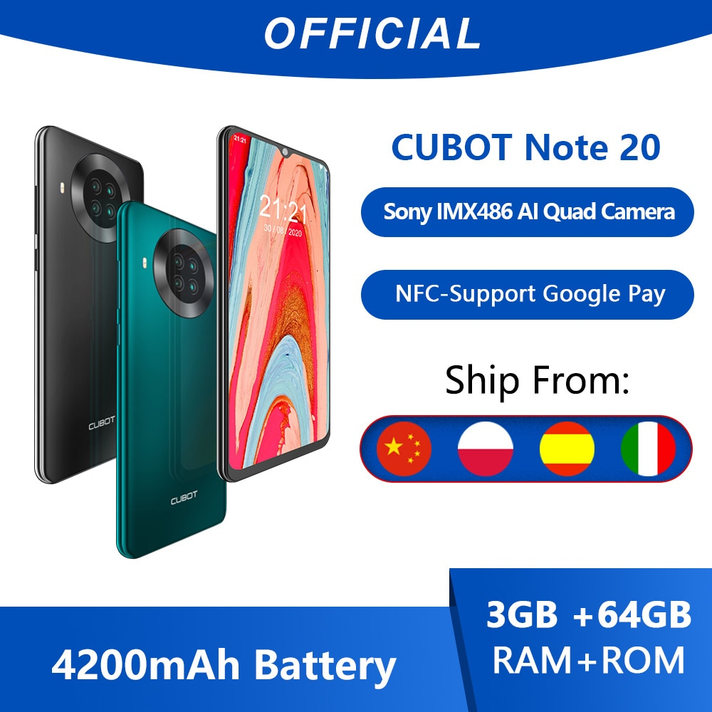 Cubot Note 20 Rear Quad Camera Smartphone NFC 6.5 Inch 4200mAh Google Android 10 Dual SIM Card Telep