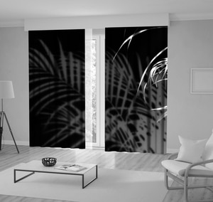 Curtain Shadows of Palm Leaves on Wall Tropical Plants Trees Silhouette Night View Printed Black White