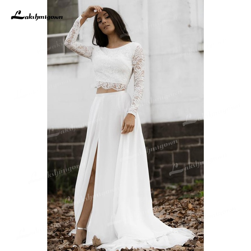Get Two Piece A-Line Wedding Dresses Boat Neck Lace Corset Illusion Long Sleeve Sexy Open Back Sweep/Brush Train Chiffon Bride Gowns