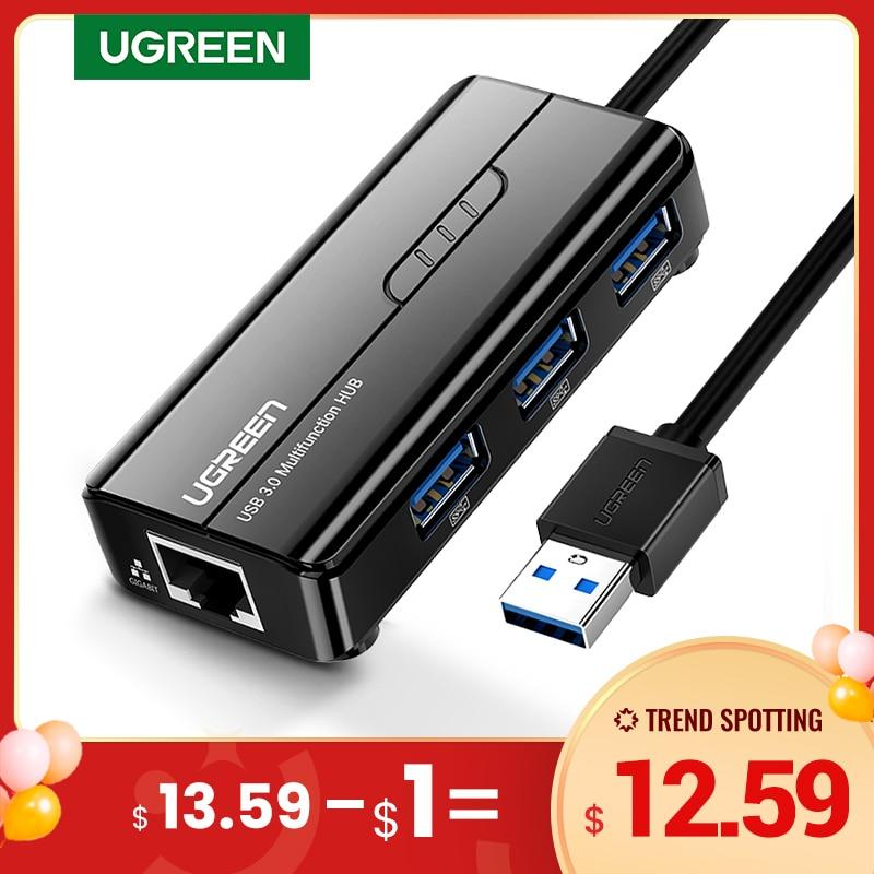 Ugreen USB Ethernet Network Card USB3.0 to RJ45 USB HUB for Laptop Xiaomi Box 3/S Set-Top Box Huawei PC Ethernet Adapter USB Lan