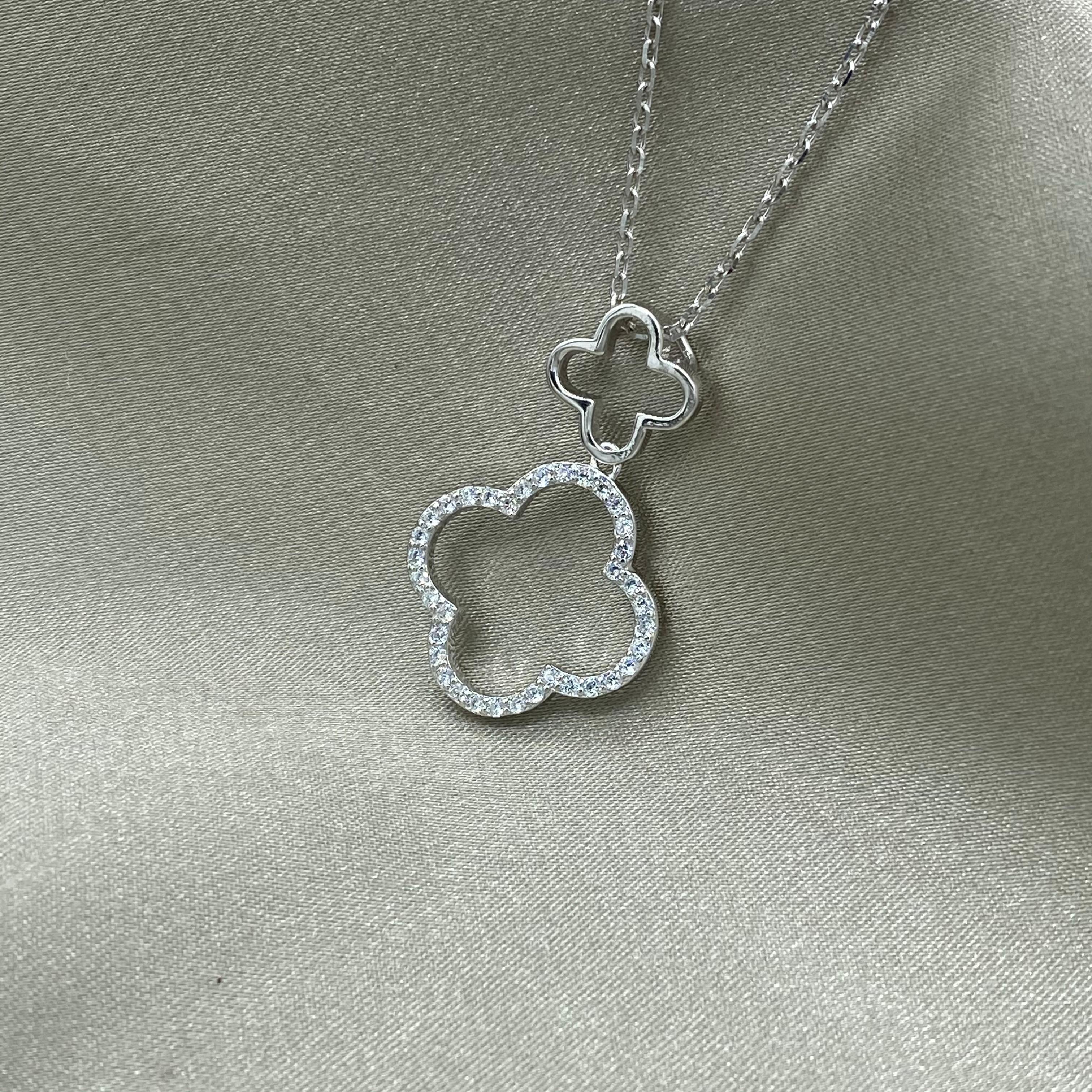 Rhodium plated zircon stone double clover necklace